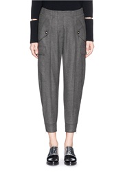 Stella Mccartney Drop Crotch Wool Cropped Cargo Pants Grey