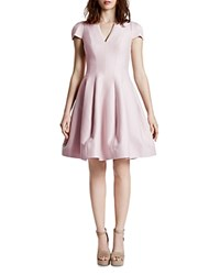 Halston Heritage Short Sleeve V Neck Tulip Skirt Dress Barely Pink