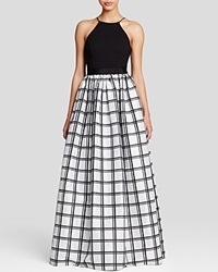 Aidan Mattox Gown Sleeveless Windowpane Skirt Ball Black Silver