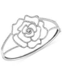 Effy Collection Pave Classica By Effy Diamond Rose Hinge Bangle 1 1 4 Ct. T.W. In 14K White Gold