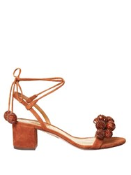 Aquazzura Disco Sequinned Pompom Suede Sandals Tan Multi