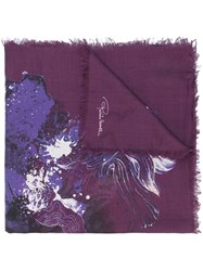 Roberto Cavalli Floral Print Scarf Pink And Purple
