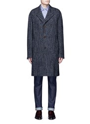 Camoshita Wool Mohair Blend Herringbone Coat Grey