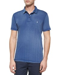 John Varvatos Short Sleeve Peace Sign Polo Shirt Blue