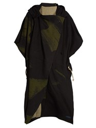 Yohji Yamamoto Regulation Wool Blend Hooded Cape Black Multi