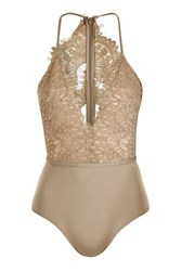 Rare Scallop Lace Plunge Bodysuit By Beige
