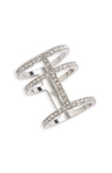 Junior Women's Bp. Pave Three Bar Ring Silver Crystal