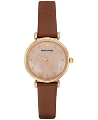Emporio Armani Women's Brown Leather Strap Watch 32Mm Ar1960