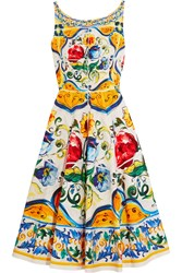 Dolce And Gabbana Printed Stretch Cotton Cloque Dress Yellow