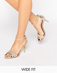 Dune Wide Fit Mariee Gold Barely There Heeled Sandals Gold Fabric