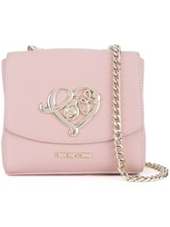 Love Moschino 'Love' Plaque Crossbody Bag Pink And Purple