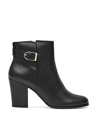 Reiss Mason Buckled Block Heel Booties Black