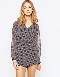 Influence 70'S Tile Print Split Sleeve Playsuit Multi