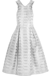 Mary Katrantzou Laguna Metallic Jacquard Dress Silver