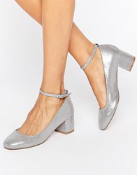 Faith Alexa Ankle Strap Silver Mid Heeled Shoes Silver