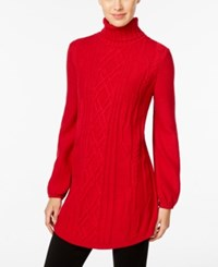 Styleandco. Style Co. Cable Knit Tunic Sweater Only At Macy's New Red Amore