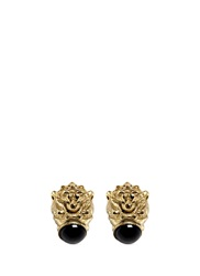 Ela Stone 'Arie' Lion Head Onyx Brass Stud Earrings Metallic