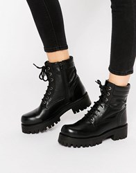 Park Lane Chunky Lace Up Leather Ankle Boots Black