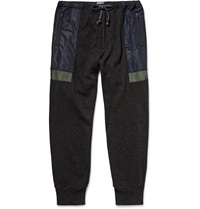 Kolor Shell Panelled Wool And Cashmere Blend Tapered Trousers Gray