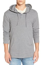 Rvca Men's 'Pick' Henley Hoodie Grey Noise