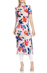 Vince Camuto Women's Floral Rendezvous Long Side Slit Tunic Rose Buff