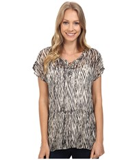 Lucky Brand Ikat Peplum Top Black Multi Women's Short Sleeve Pullover