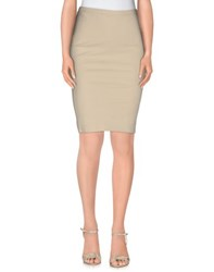 Nellandme Skirts Knee Length Skirts Women Beige