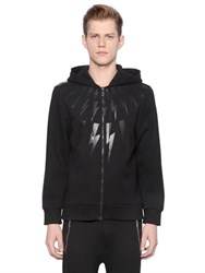 Neil Barrett Hooded Zip Up Neoprene Sweatshirt