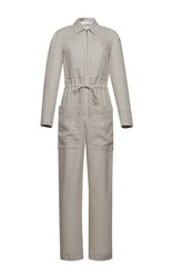 Barbara Casasola Rio Linen Jumpsuit Light Grey