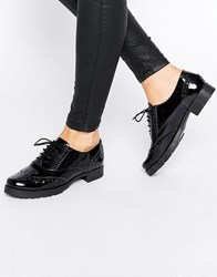 Office Foal Chunky Lace Up Leather Flat Shoes Black Patent Leather