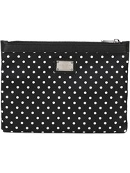 Dolce And Gabbana Polka Dot Print Clutch Black