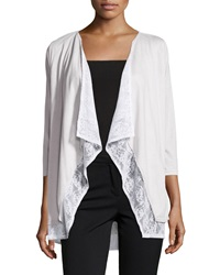 Neiman Marcus Layered Lace 3 4 Sleeve Cardigan Light Gray