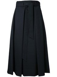 H Beauty And Youth Tie Waist Pleated Skirt Black