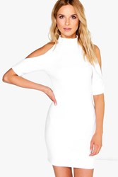 Boohoo Open Shoulder Bodycon Dress Ivory