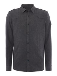 Duck And Cover Men's Replicant Long Sleeve Flannel Shirt Charcoal