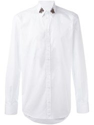 Dolce And Gabbana Embroidered Bee Collar Shirt White