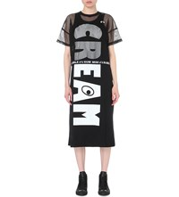 Mini Cream Logo Print Mesh And Cotton Jersey Dress Black