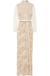 Alexander Mcqueen Cotton Blend Lace Gown Ivory