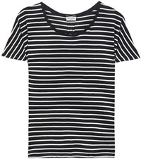 Saint Laurent Striped Silk T Shirt Black