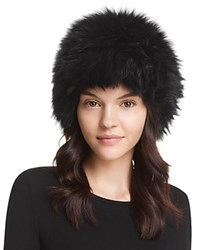 Surell Fox Fur Knit Bubble Hat Black