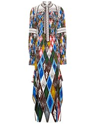 Peter Pilotto Harlequin Full Length Long Sleeve Dress In Argyle Multi