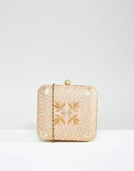 Park Lane Hand Embroidered Box Clutch Bag Pale Coral Pink