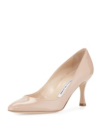 Manolo Blahnik Lisa Patent Almond Toe Pump