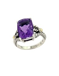 Effy Balissima 18 Kt. Yellow Gold And Sterling Silver Amethyst Ring Amethyst Silver