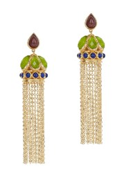 Isharya Abstract Mughal Tasselled Gold Plated Earrings Multicoloured