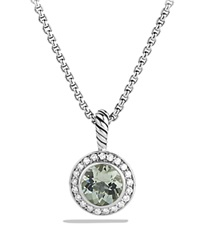David Yurman Cerise Pendant With Prasiolite And Diamonds On Chain Silver Green