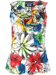 Boutique Moschino Sleeveless Floral Print Top White