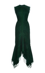 Costarellos Guipure Lace Sleeveless Midi Dress Dark Green