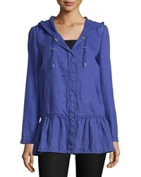 Moschino Long Sleeve Snap Front Coat Purple