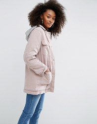 Asos Jacket In Heavy Wash With Quilted Liner Light Pink